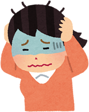 つくば市で頭痛に悩む女性のイラスト